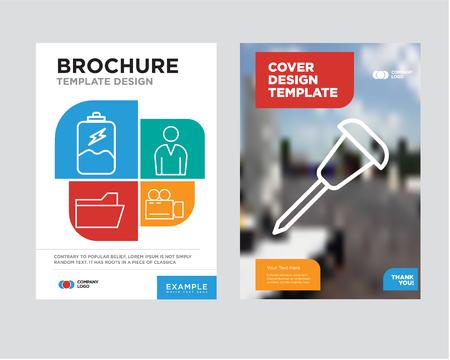 Ilustración de Pushpin brochure flyer design template with abstract photo background - Imagen libre de derechos