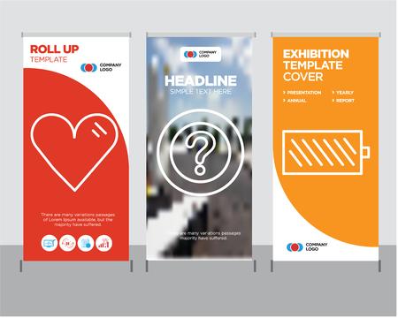 Ilustración de Battery level modern business roll up banner design template, Question mark creative poster stand or brochure concept, Heart cover publication - Imagen libre de derechos