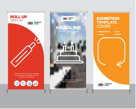 Ilustración de Update arrow modern business roll up banner design template, Cake with candles creative poster stand or brochure concept, Battery level cover publication - Imagen libre de derechos