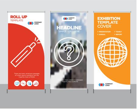 Ilustración de International globe modern business roll up banner design template, Question mark creative poster stand or brochure concept, Battery level cover publication - Imagen libre de derechos