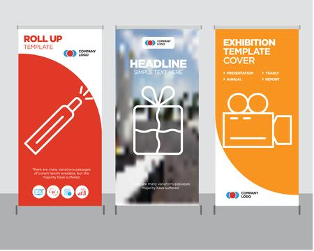 Ilustración de Video camera modern business roll up banner design template, Bookmark creative poster stand or brochure concept, Battery level cover publication. - Imagen libre de derechos