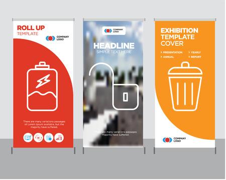 Ilustración de Dustbin modern business roll up banner design template, Unlocked padlock creative poster stand or brochure concept, Battery charging cover publication - Imagen libre de derechos