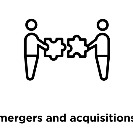 Illustration for mergers and acquisitions icon isolated on white background, vector illustration - Royalty Free Image