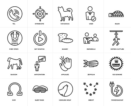 Illustration pour Set Of 20 icons such as power backup, brexit, howling wolf, sleep mask, ohm, igloo, referrals, applause, baboon, get started, chihuahua, web UI editable icon pack, pixel perfect - image libre de droit