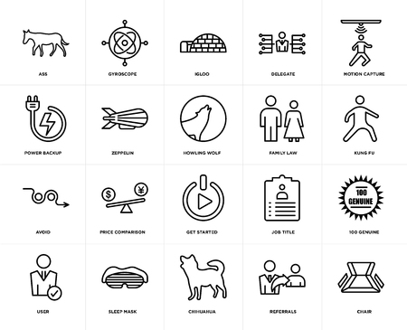 Illustration pour Set Of 20 icons such as chair, referrals, chihuahua, sleep mask, user, motion capture, family law, get started, avoid, zeppelin, igloo, web UI editable icon pack, pixel perfect - image libre de droit