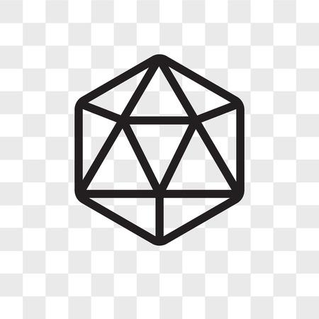 Illustration for Icosahedron vector icon isolated on transparent background, Icosahedron logo concept - Royalty Free Image