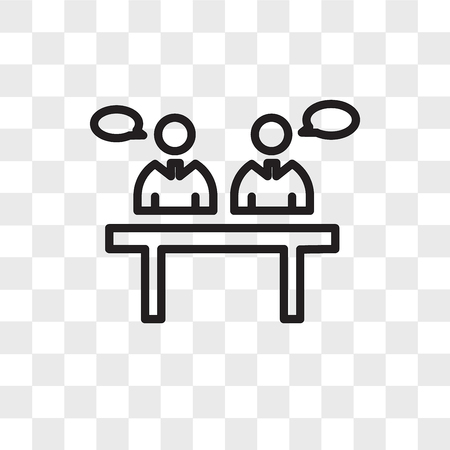 Illustration pour panel discussion vector icon isolated on transparent background, panel discussion logo concept - image libre de droit