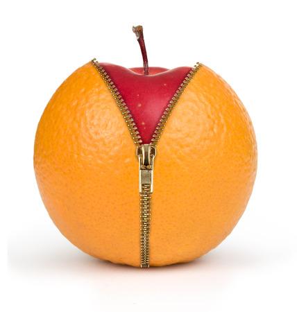 Photo for diet concept, apple inside orange - Royalty Free Image