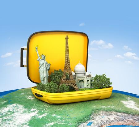Foto de Luggage. Travel concept, world map - Imagen libre de derechos