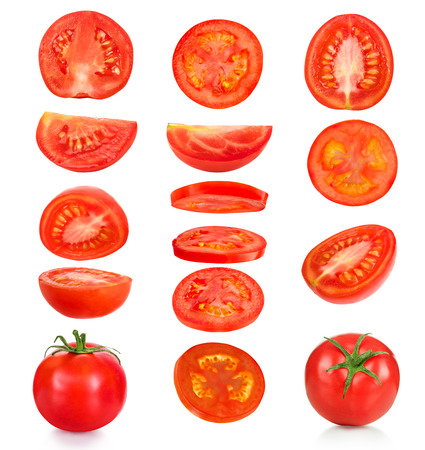 Photo pour collection of pieces of tomatoes on a white background - image libre de droit