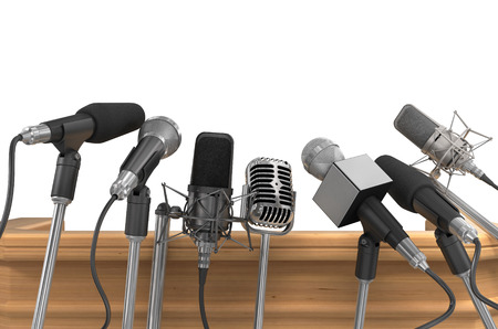 Photo for Press Media Conference Microphones. - Royalty Free Image