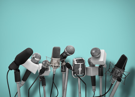 Photo for Press conference with standing microphones. - Royalty Free Image