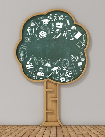 Foto de Book shelf in form of tree and drawing concept. Study concept. - Imagen libre de derechos