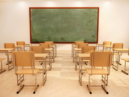 Photo pour Illustration of bright empty classroom with desks and chairs - image libre de droit