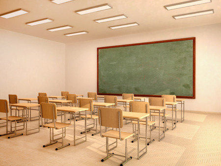 Foto de Illustration of bright empty classroom with desks and chairs - Imagen libre de derechos