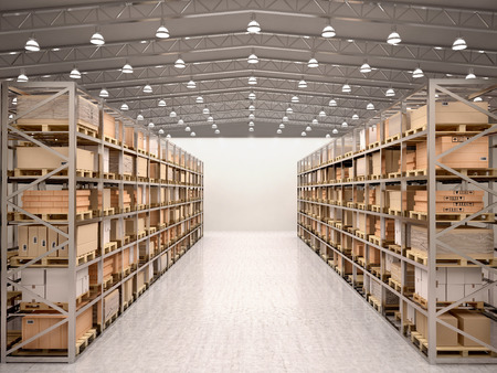 Photo for 3d illustration of rows of shelves with boxes in modern warehouse - Royalty Free Image