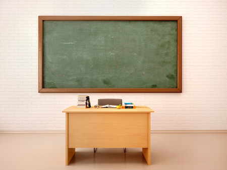 Photo pour 3d illustration of bright empty classroom for lessons and training - image libre de droit