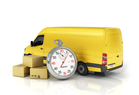 Photo pour Cardboard package box with stopwatch and delivery vehicle on the white background. Fast delivery concept. - image libre de droit