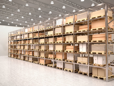 Photo for 3d illustration of rows of shelves with boxes in modern warehous - Royalty Free Image