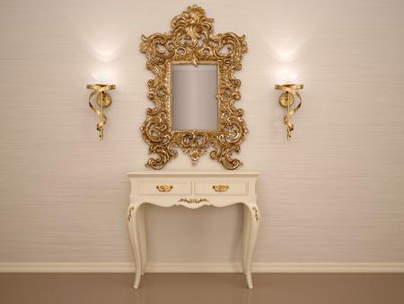 Foto de 3d illustration of a dressing table with a mirror in a gold frame - Imagen libre de derechos
