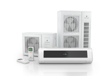 Photo for Air conditioner system isolated on white. - Royalty Free Image