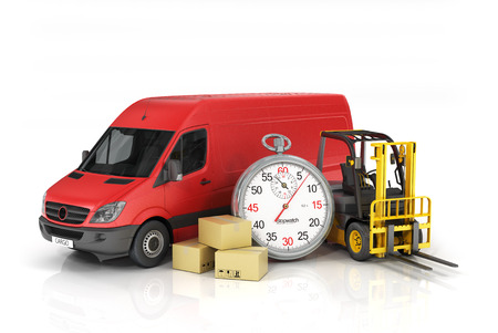 Photo pour Cardboard package box with stopwatch and delivery vehicle with forklift truck on the white background. Fast delivery and loading concept. - image libre de droit