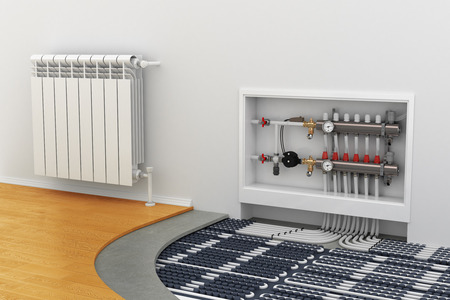 Foto de floor heating system, the collector, the battery - Imagen libre de derechos