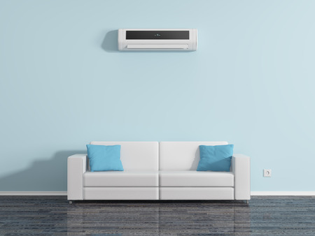 Photo for Air conditioning on the wall above the sofa cushions. - Royalty Free Image