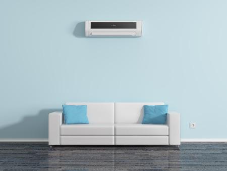 Foto de Air conditioning on the wall above the sofa cushions. - Imagen libre de derechos