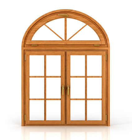 Foto de Arched wooden window isolated on white background. - Imagen libre de derechos