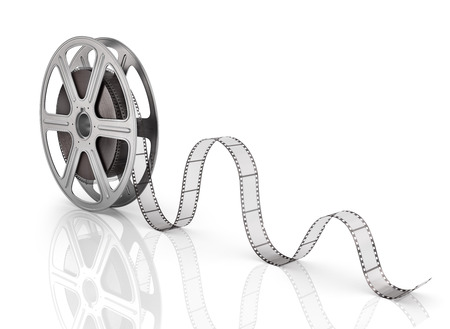 Photo for Motion picture film reel on the white background. - Royalty Free Image