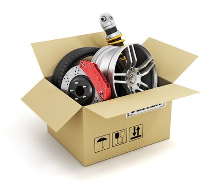 Foto de Auto parts in the cardboard box. Automotive basket shop. Auto parts store. - Imagen libre de derechos