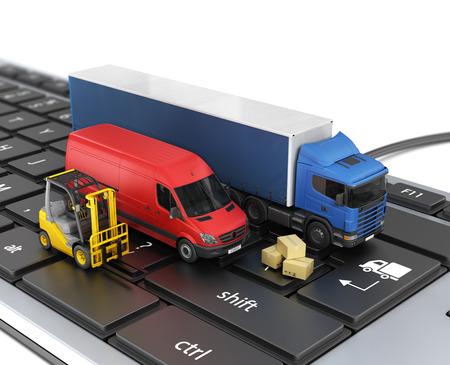 Photo pour Concept of online order delivery. Delivery vehicles. - image libre de droit