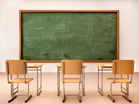 Foto de 3d illustration of bright empty classroom for lessons and training - Imagen libre de derechos