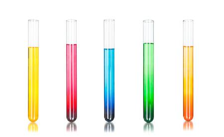 Foto de Colored liquids in five test tubes isolated over white background - Imagen libre de derechos