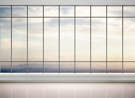 Foto de 3d illustration of empty office with large windows - Imagen libre de derechos