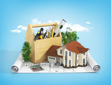 Photo for Concept of repair and building house. Repair and construction of the house. Tool box near a house with trees on the blueprint. - Royalty Free Image
