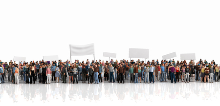 Photo for Protest of crowd. Large crowd of people stay on a line on the white background. - Royalty Free Image