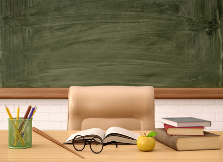 Foto de 3d illustration of the teacher's Desk in front of a green Board - Imagen libre de derechos