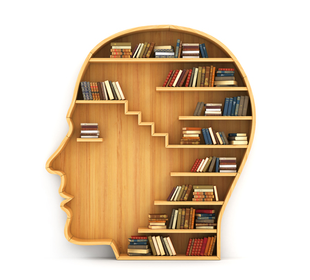 Photo pour Concept of training. Wooden bookshelf in form of man head. Science about human. Psychology. A human have more knowledge. - image libre de droit