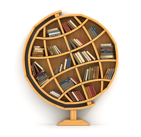 Photo pour Concept of training. Wooden bookshelf in form of globe. Science about locality. Geography. A human have more knowledge. - image libre de droit
