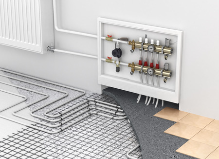 Photo pour Underfloor heating with collector and radiator in the room. Concept of technology heating. The order of layers in the floor. - image libre de droit