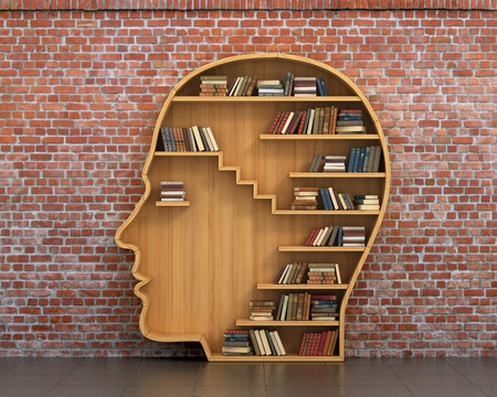 Photo pour Concept of training. Wooden bookshelf full of books in form of man head on a bricks background. Science about human. Psychology. A human have more knowledge. - image libre de droit