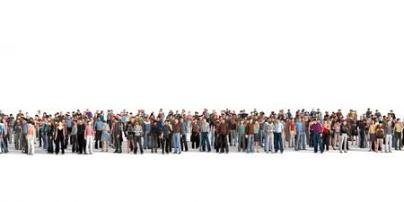 Photo pour Crowd. Large crowd of people stay on a line on the white background. - image libre de droit