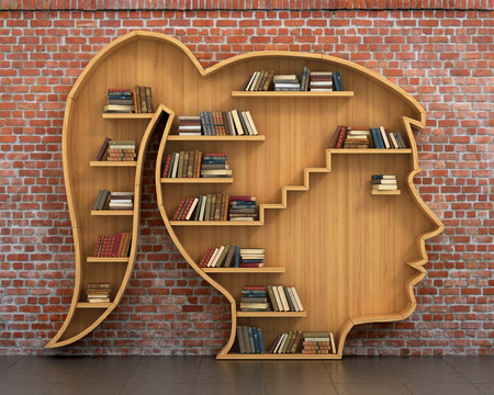 Photo pour Concept of training. Wooden bookshelf full of books in form of woman head on a bricks background. Science about human. Psychology. A human have more knowledge. - image libre de droit