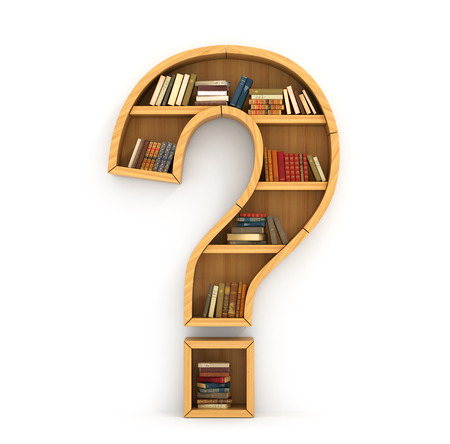 Photo pour Bookshelf full of books in form of question sign on a white background - image libre de droit