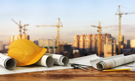 Foto per 3d render of blueprints and designer tools on the panorama of construction site. - Immagine Royalty Free