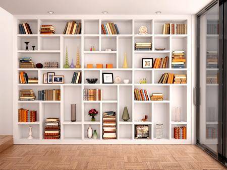 Foto de 3d illustration of White shelves in the interior with various objects - Imagen libre de derechos
