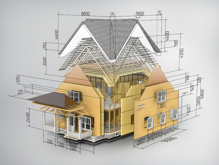 Photo for Concept of construction. We see constituents of roof frame and insulation layer with dimensions. - Royalty Free Image