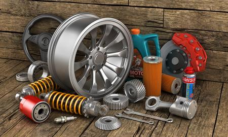 Foto de Set of auto parts on the old wood background. - Imagen libre de derechos